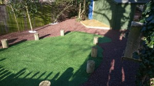 Artificial Grass surrounded by Resin Bonded Rubber Bark