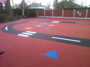 Wet Pour Rubber Surface with graphics