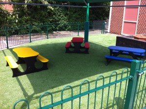 Bench Seats on Artificial Grass