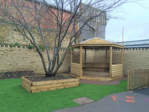 Hexagonal Shelter on Artificial Grass