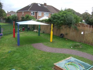 Maxim Shade Canopy System over Artificial Grass