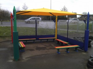 Maxim Shade Canopy System with Plastic Bench Seats