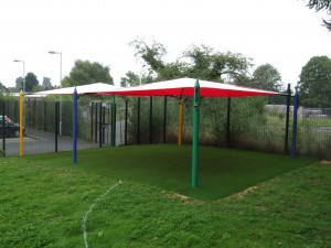 Double Maxim Shade Canopy System over Artificial Grass