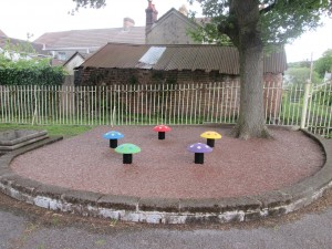 Mushroom Seats in Resin Bonded Rubber Bark